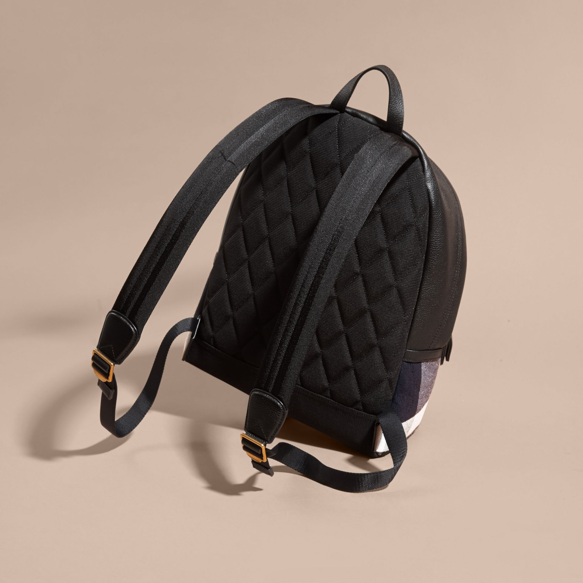 Black Canvas Check and Leather Backpack - gallery image 4