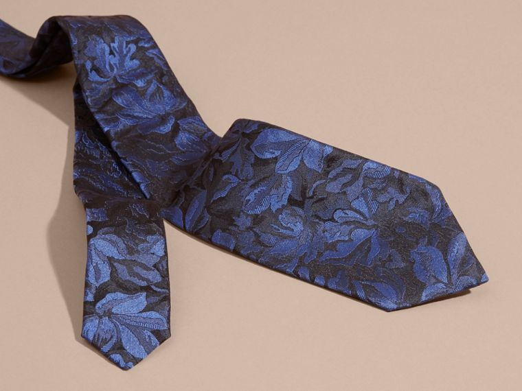 Navy Modern Cut Floral Jacquard Silk Tie Navy - cell image 1