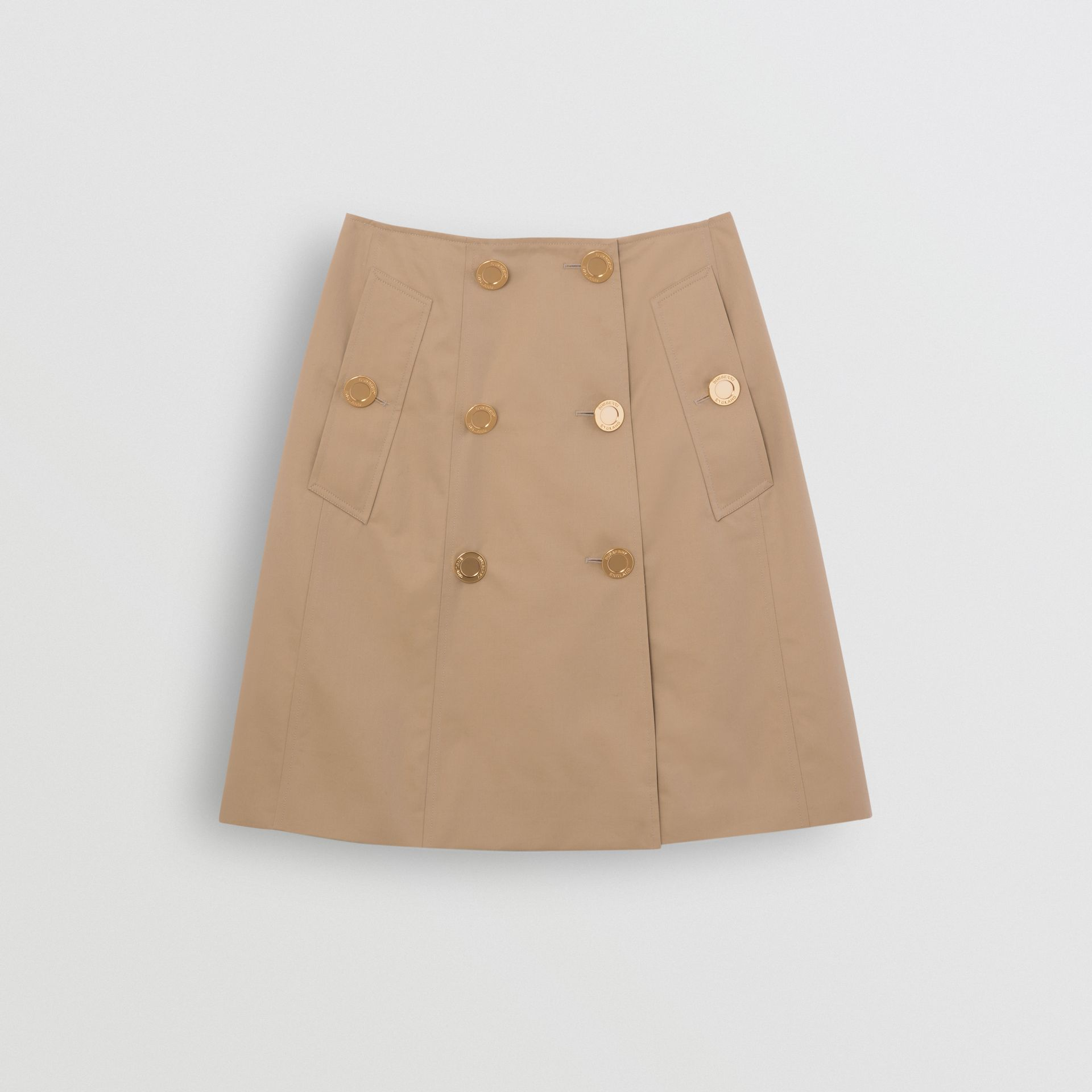 Cotton Gabardine Trench Skirt in Honey - Women | Burberry - gallery image 3