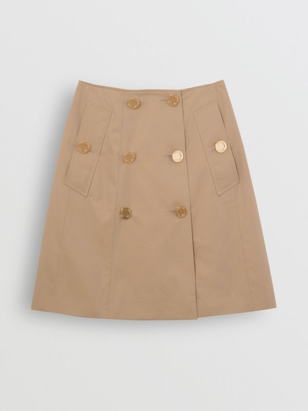 Cotton Gabardine Trench Skirt in Honey - Women | Burberry - cell image 3