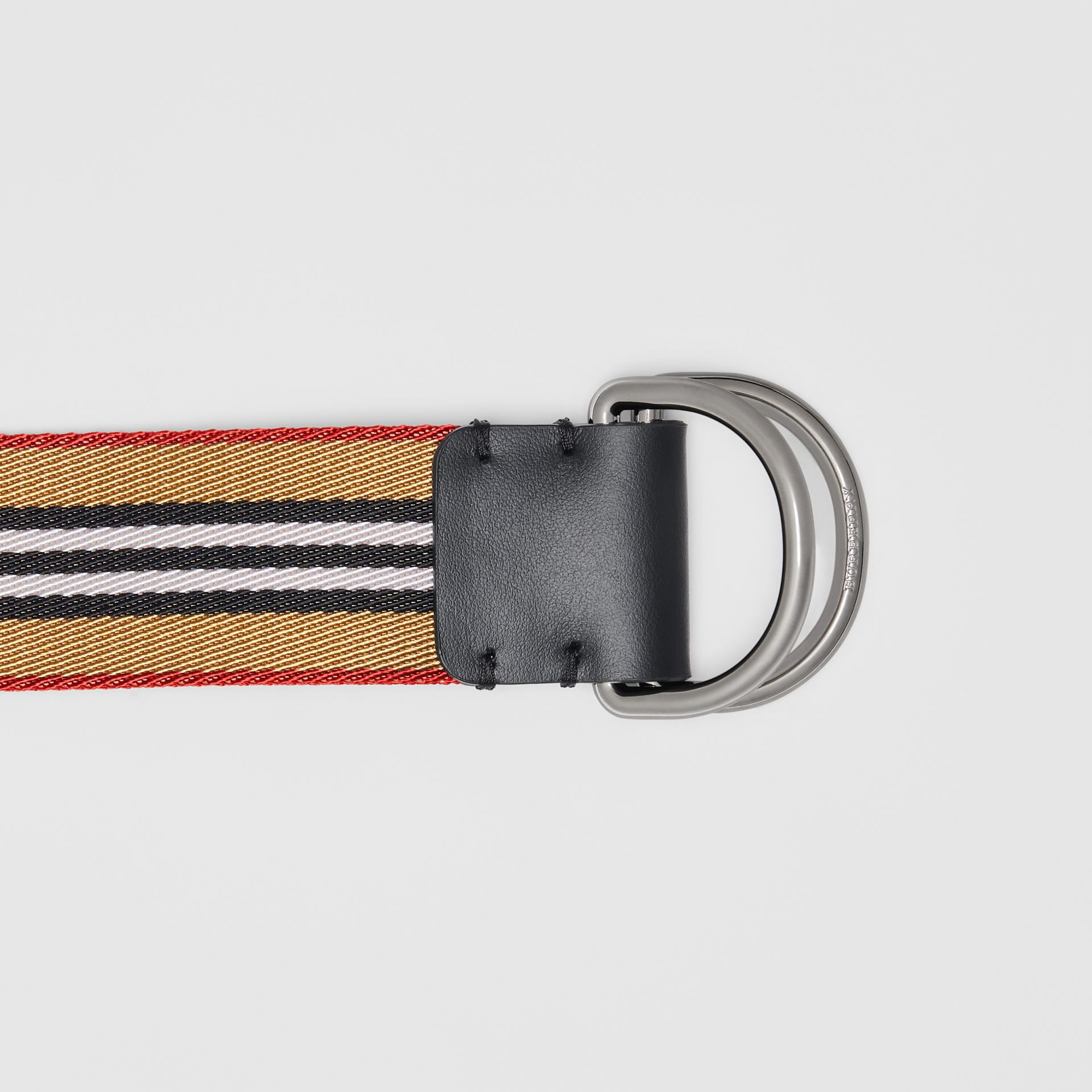 Icon Stripe Double D-ring Belt in Antique Yellow - Men | Burberry Singapore - gallery image 1
