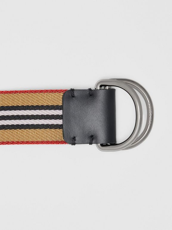 Icon Stripe Double D-ring Belt in Antique Yellow - Men | Burberry Singapore - cell image 1
