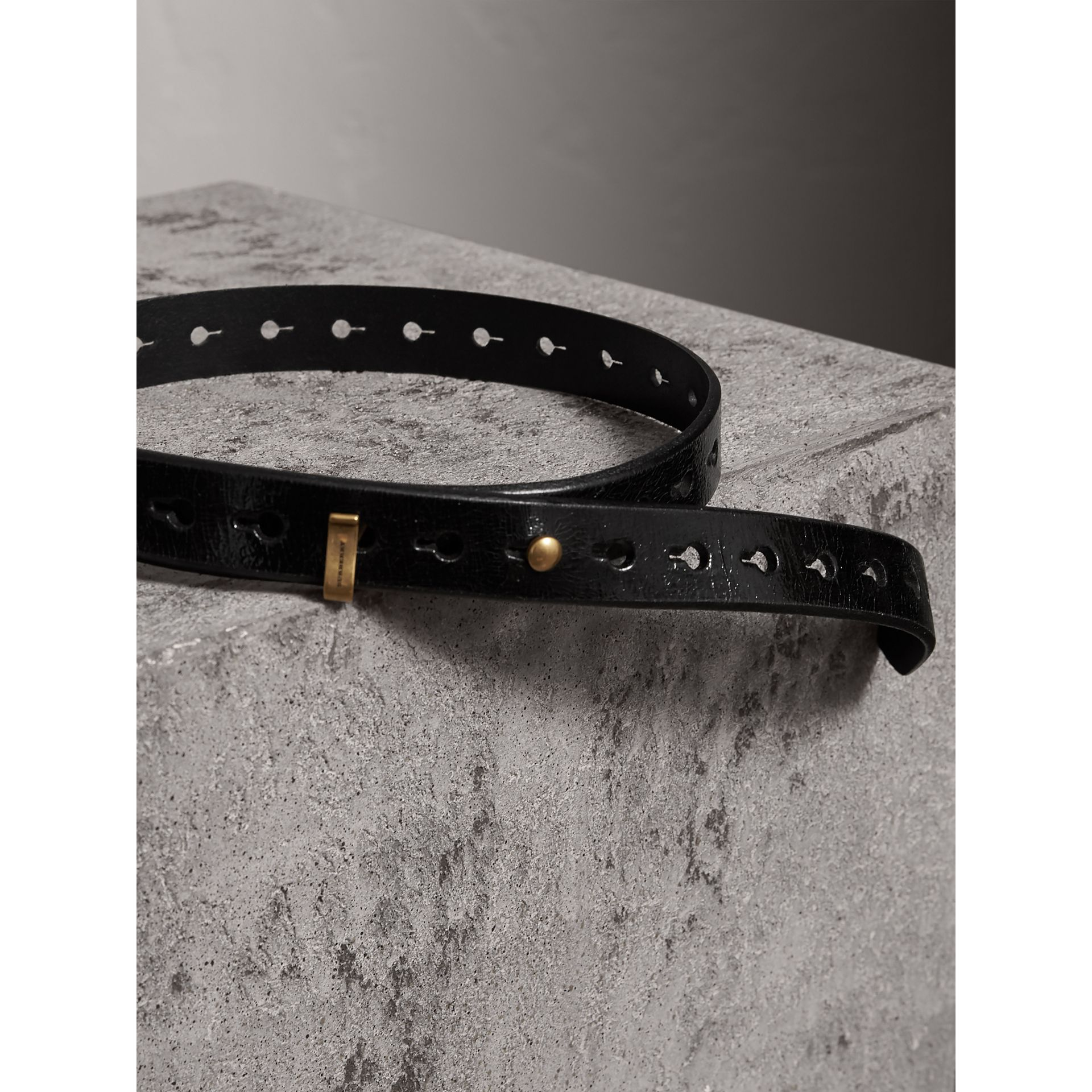 Glossy Leather Belt in Black - Women | Burberry - gallery image 3