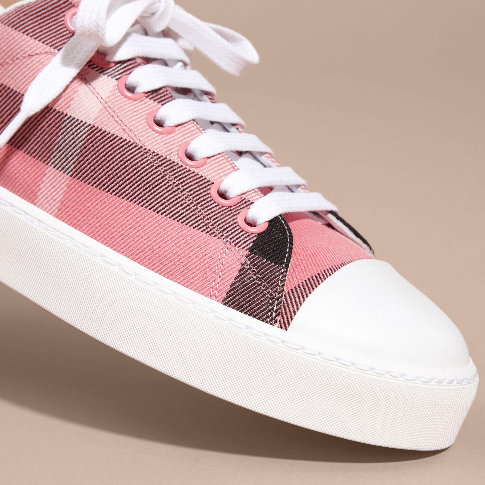 Check and Leather Trainers in Rose Pink - gallery image 2