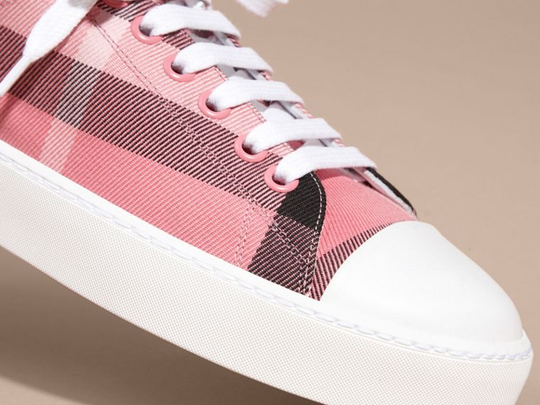 Check and Leather Trainers in Rose Pink - cell image 1