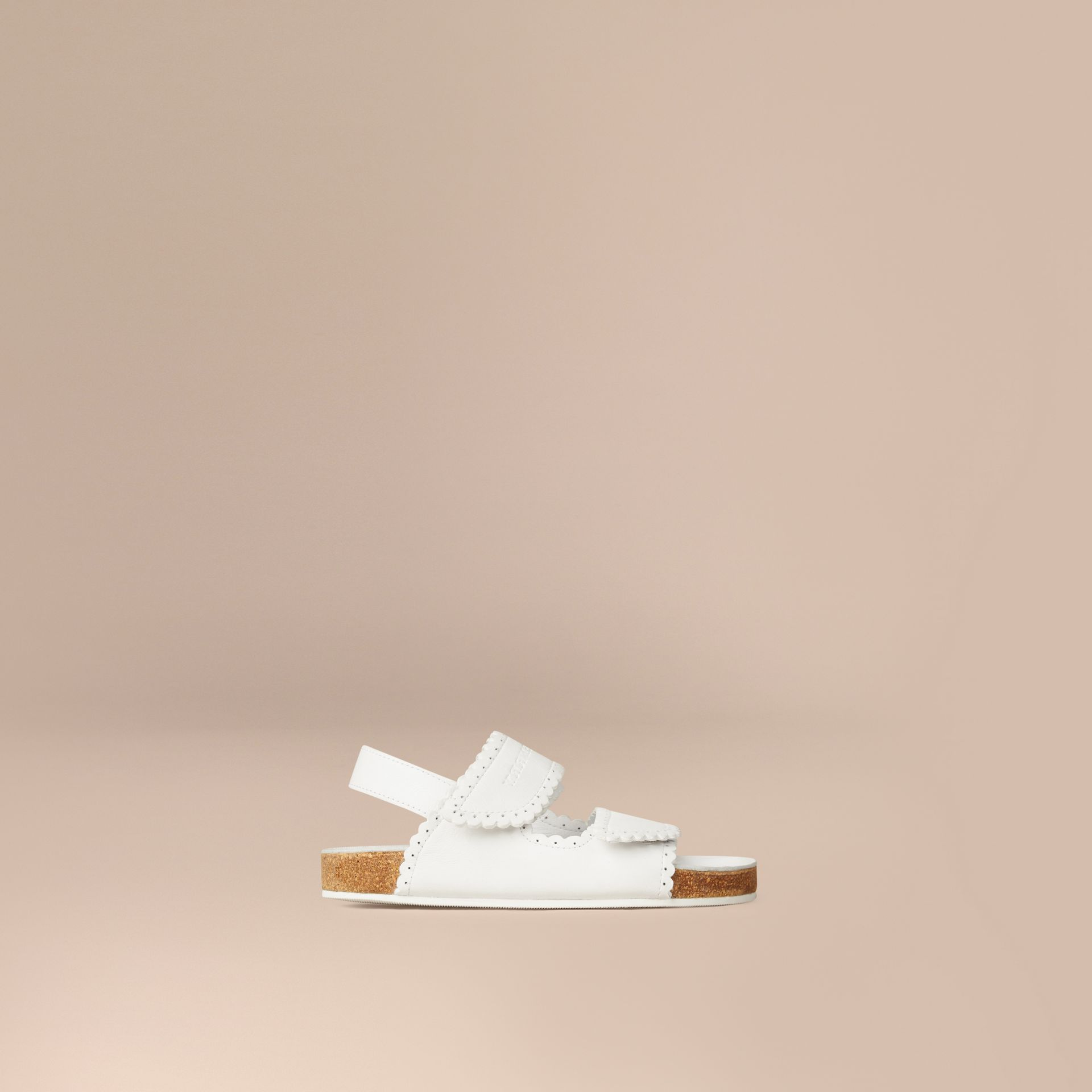 Optic white Scallop Detail Leather Sandals - gallery image 1