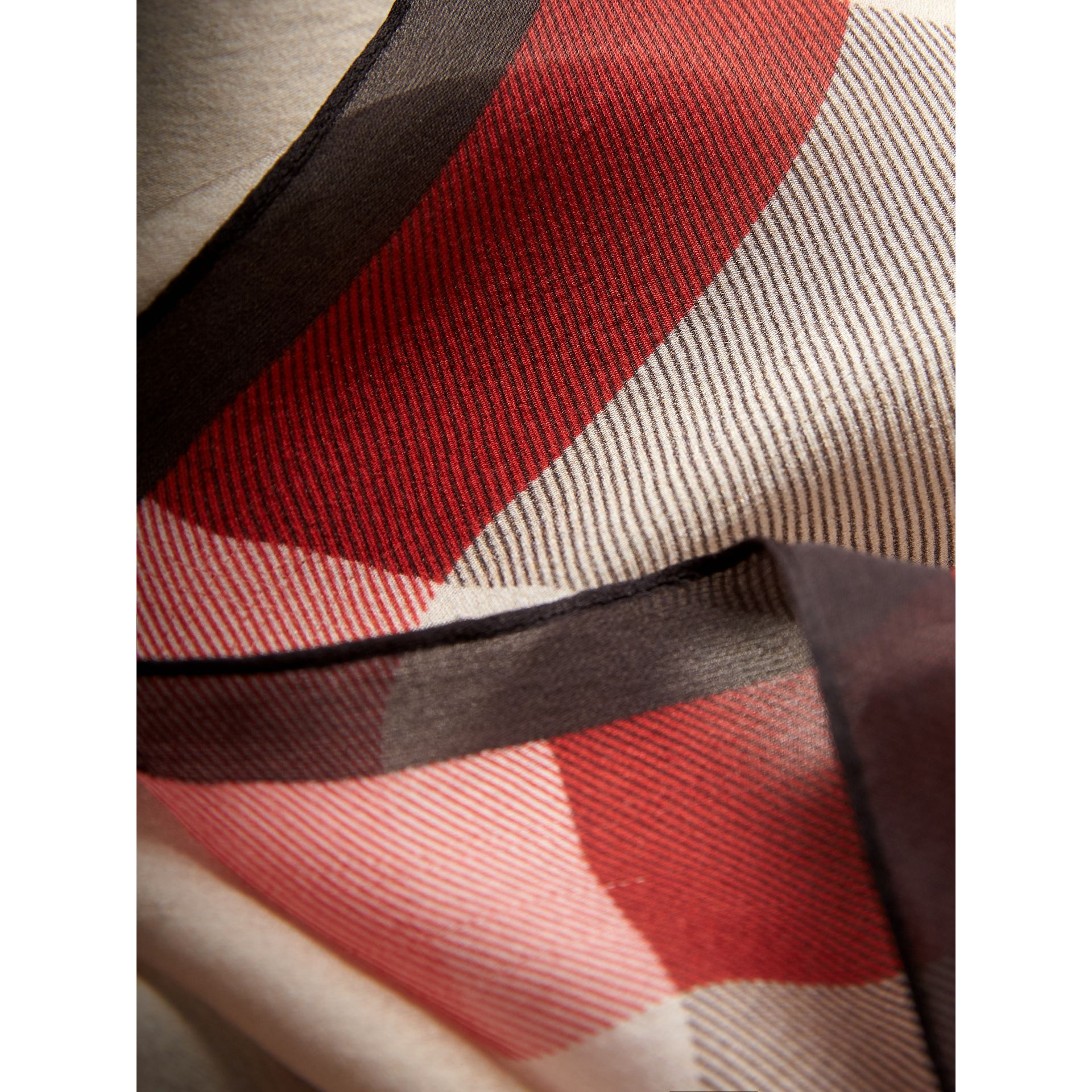 Lightweight Check Silk Scarf in Stone - Women | Burberry - gallery image 1