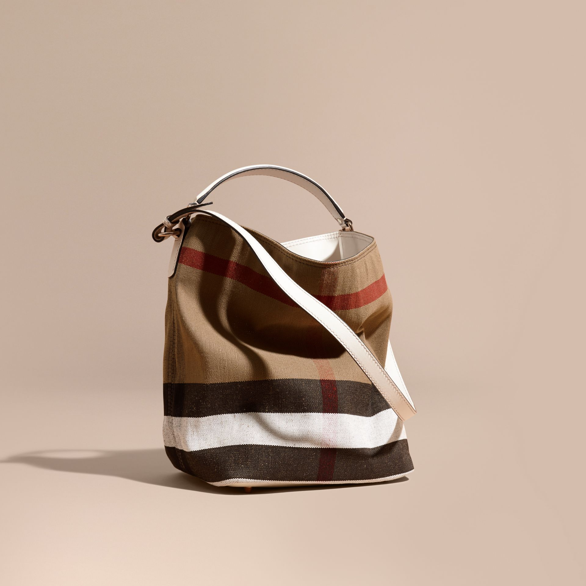 The Medium Ashby in Canvas Check and Leather - gallery image 1