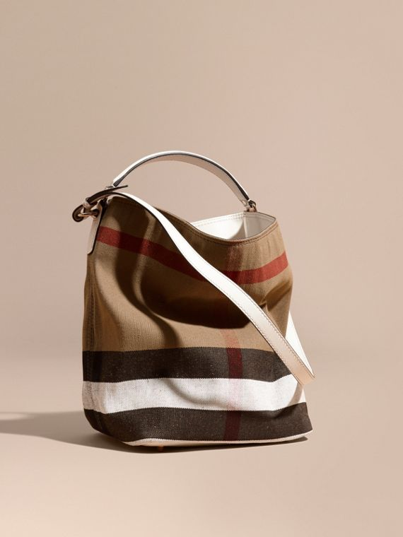 The Medium Ashby in Canvas Check and Leather White