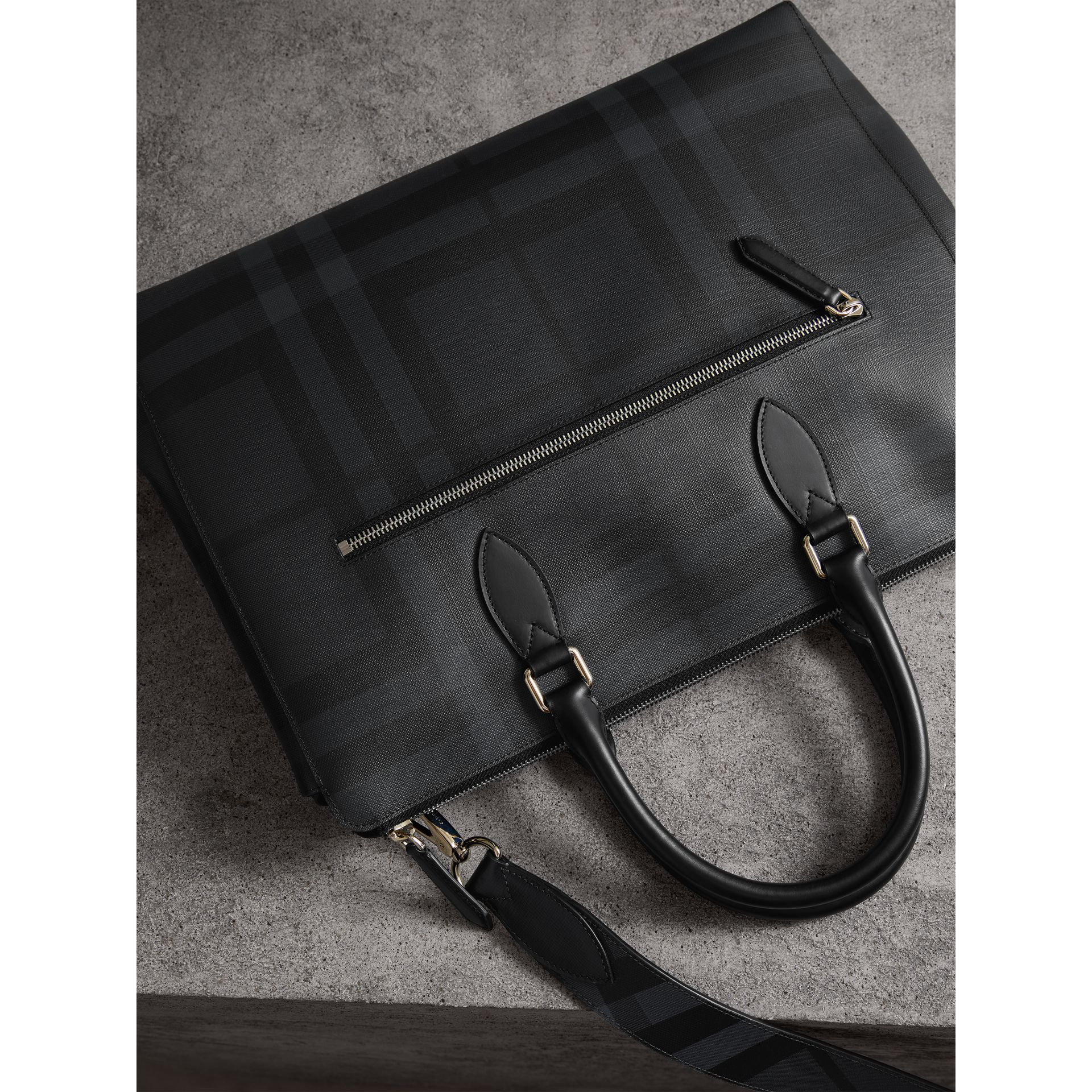 Large London Check Briefcase in Charcoal/black - Men | Burberry - gallery image 3