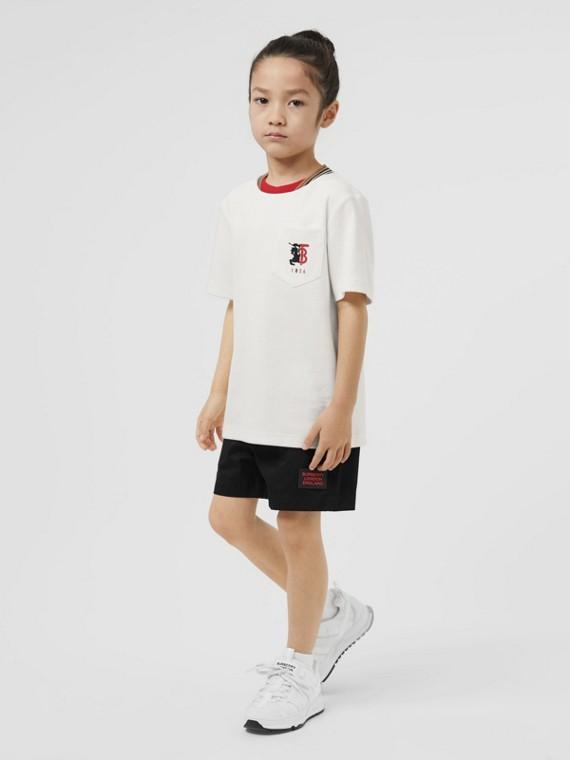 T-shirt in jersey a rete con logo stampato a contrasto (Bianco)