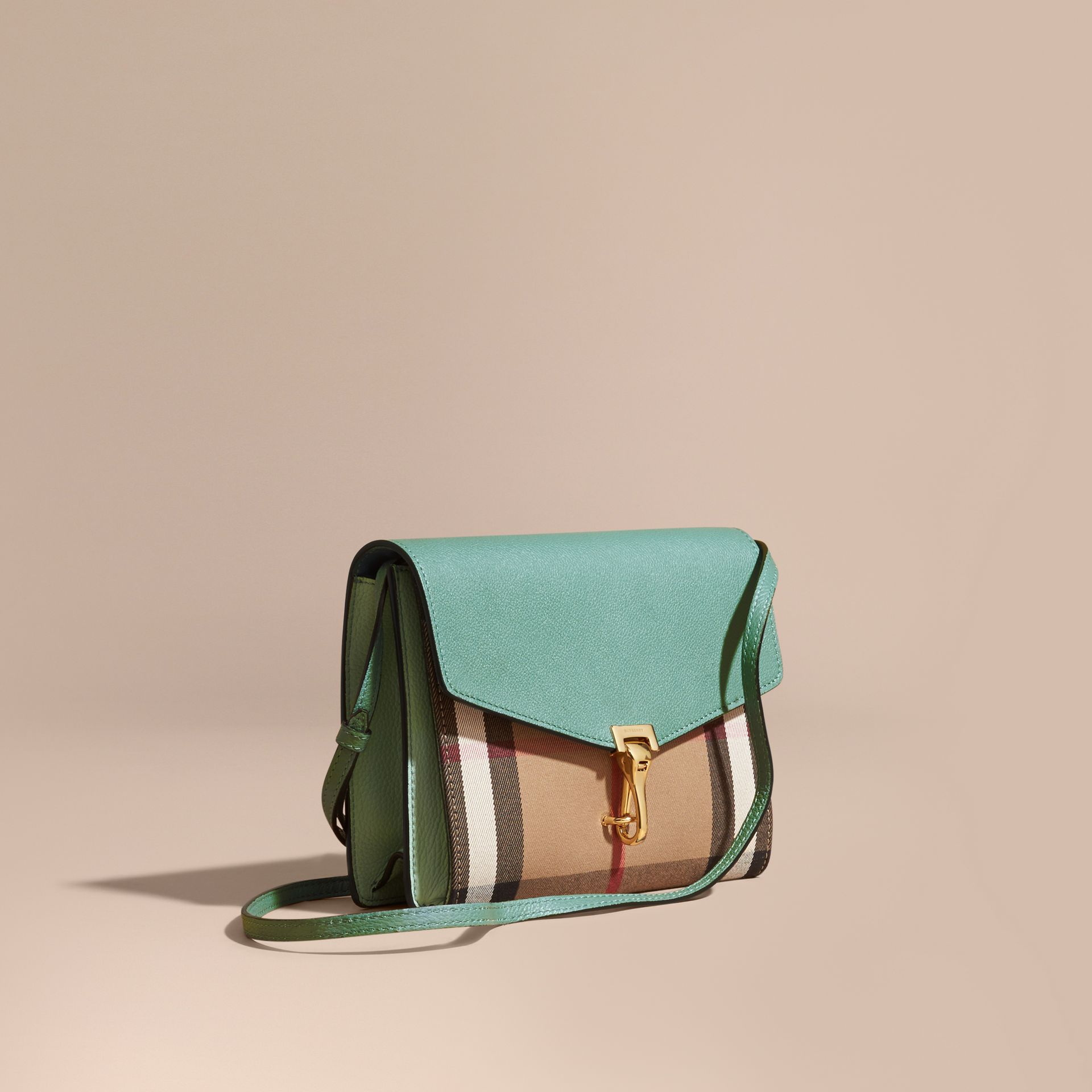 Small Leather and House Check Crossbody Bag Celadon Blue - gallery image 1