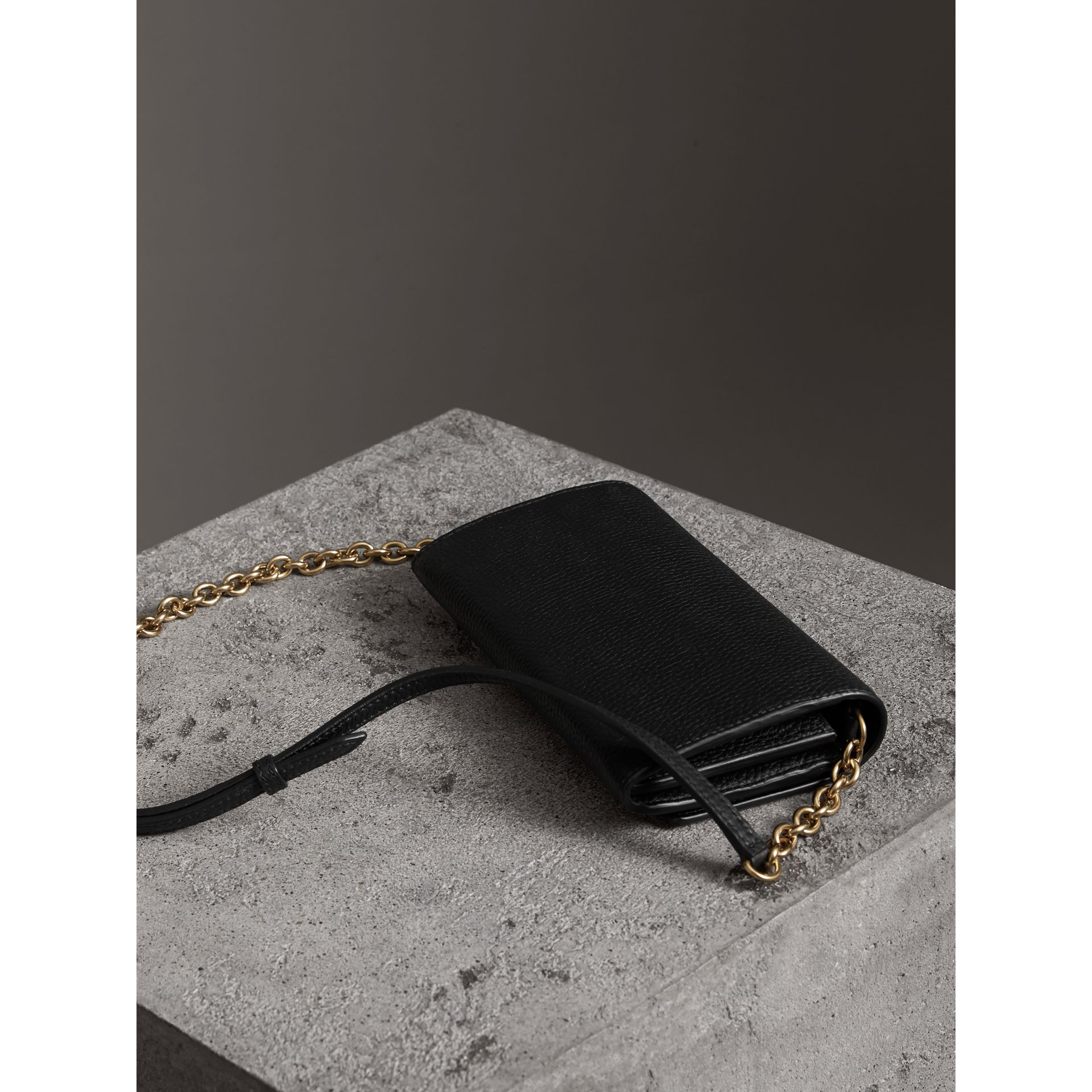 Embossed Leather Wallet with Chain in Black - Women | Burberry - gallery image 3
