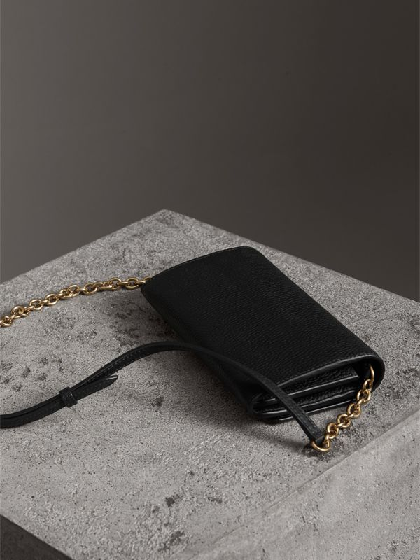 Embossed Leather Wallet with Chain in Black - Women | Burberry Canada - cell image 3