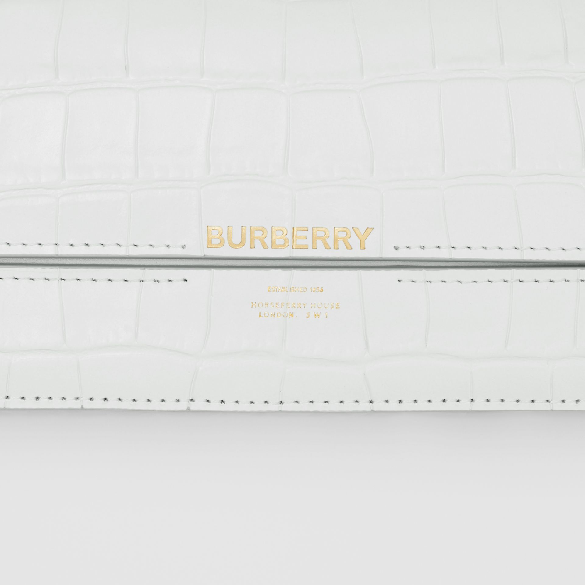 Embossed Leather Wallet with Detachable Chain Strap in Light Pebble Grey - Women | Burberry United Kingdom - gallery image 1