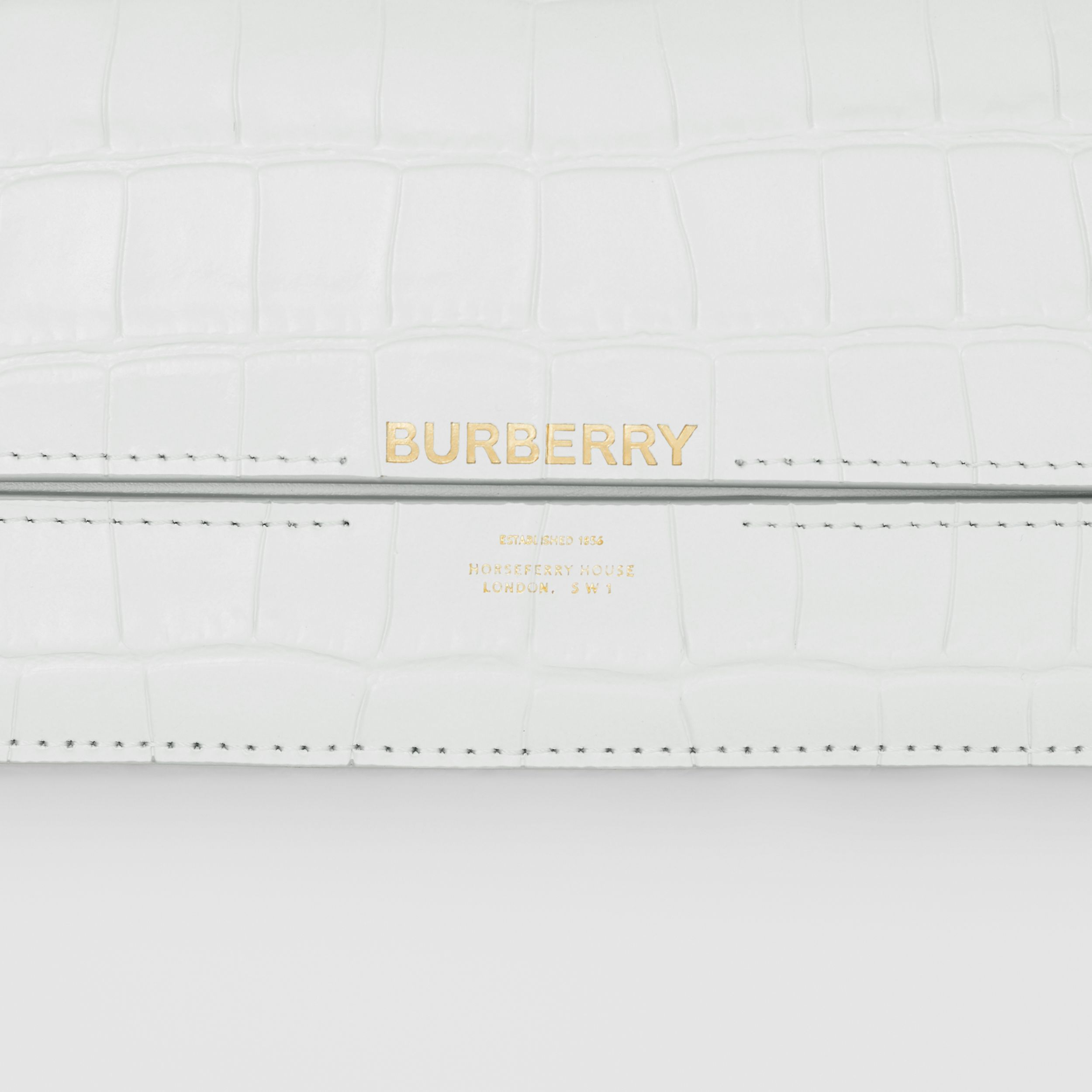 Embossed Leather Wallet with Detachable Chain Strap in Light Pebble Grey - Women | Burberry - 2