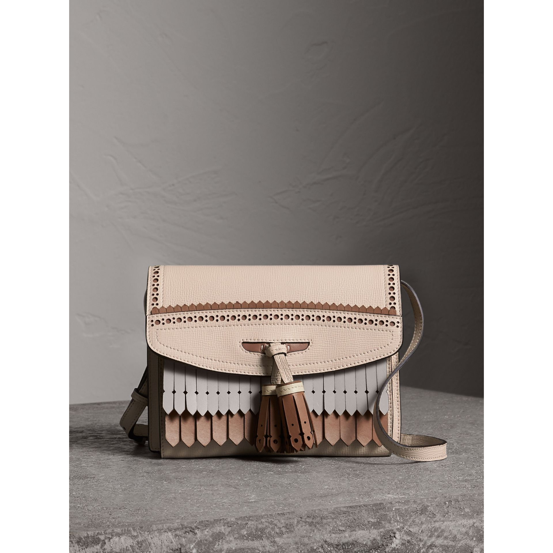 Brogue and Fringe Detail Leather Crossbody Bag in Limestone - Women | Burberry - gallery image 1
