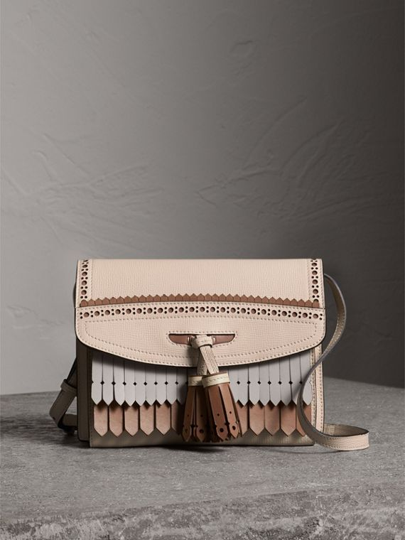 Brogue and Fringe Detail Leather Crossbody Bag in Limestone