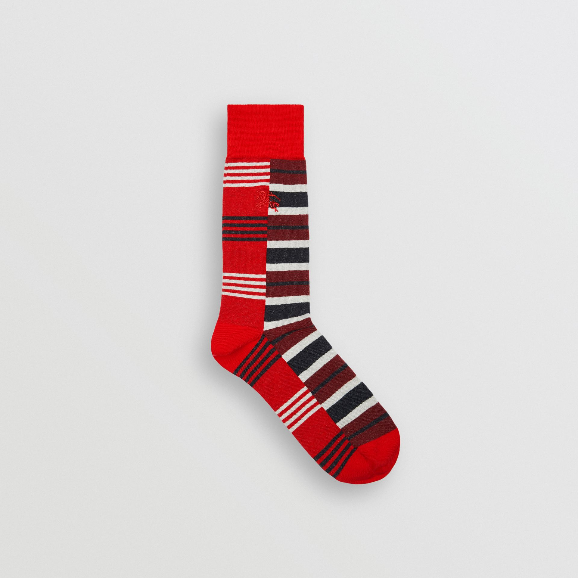 Contrast Stripe Cotton Blend Socks in Parade Red | Burberry Singapore - gallery image 0