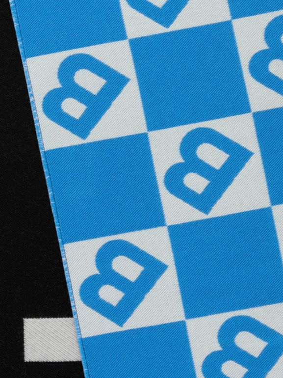 Contrast Logo Graphic Wool Silk Jacquard Scarf in Azure Blue | Burberry - cell image 1