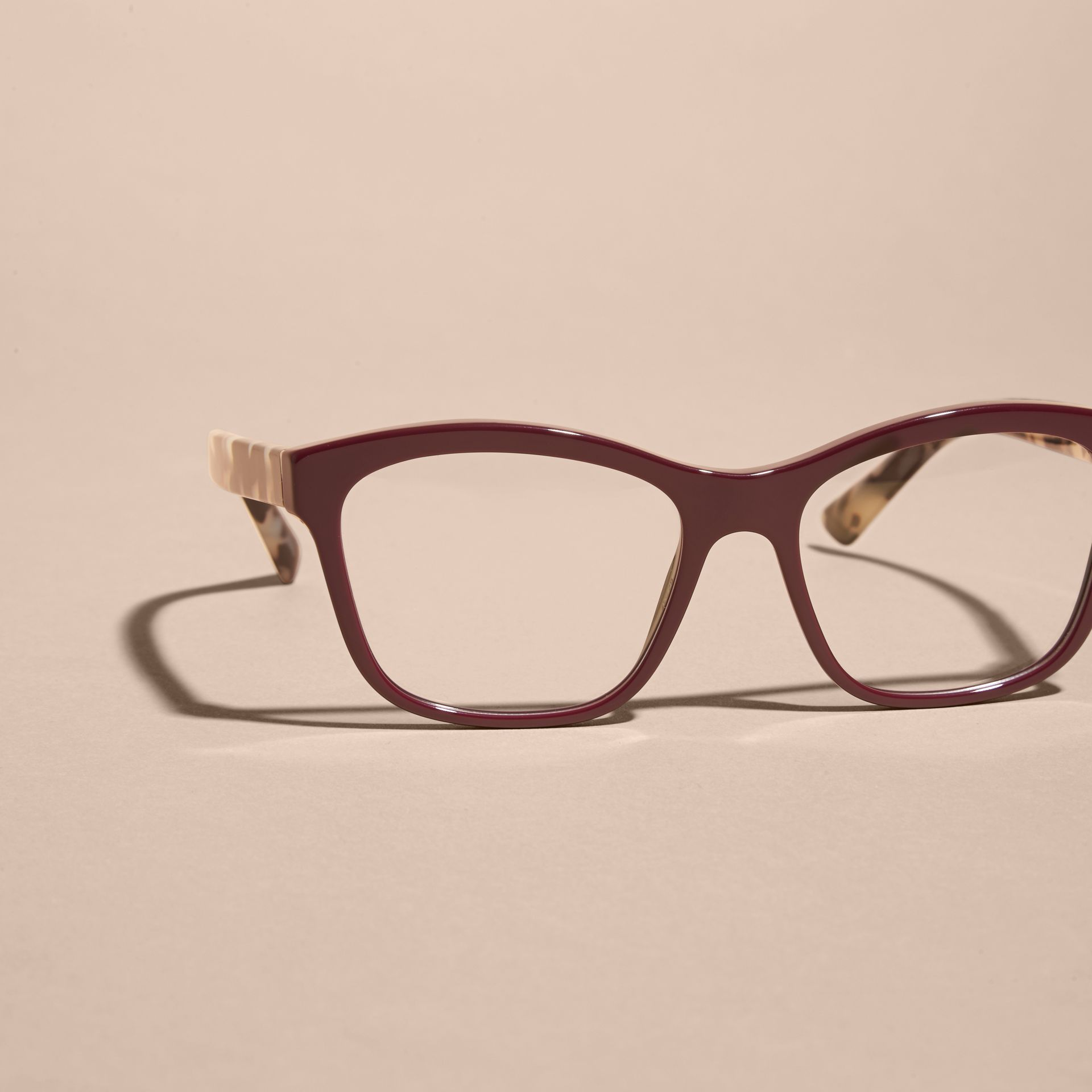 Check Detail Square Optical Frames Oxblood - gallery image 2