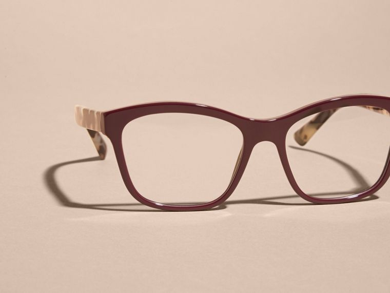 Oxblood Check Detail Square Optical Frames Oxblood - cell image 1