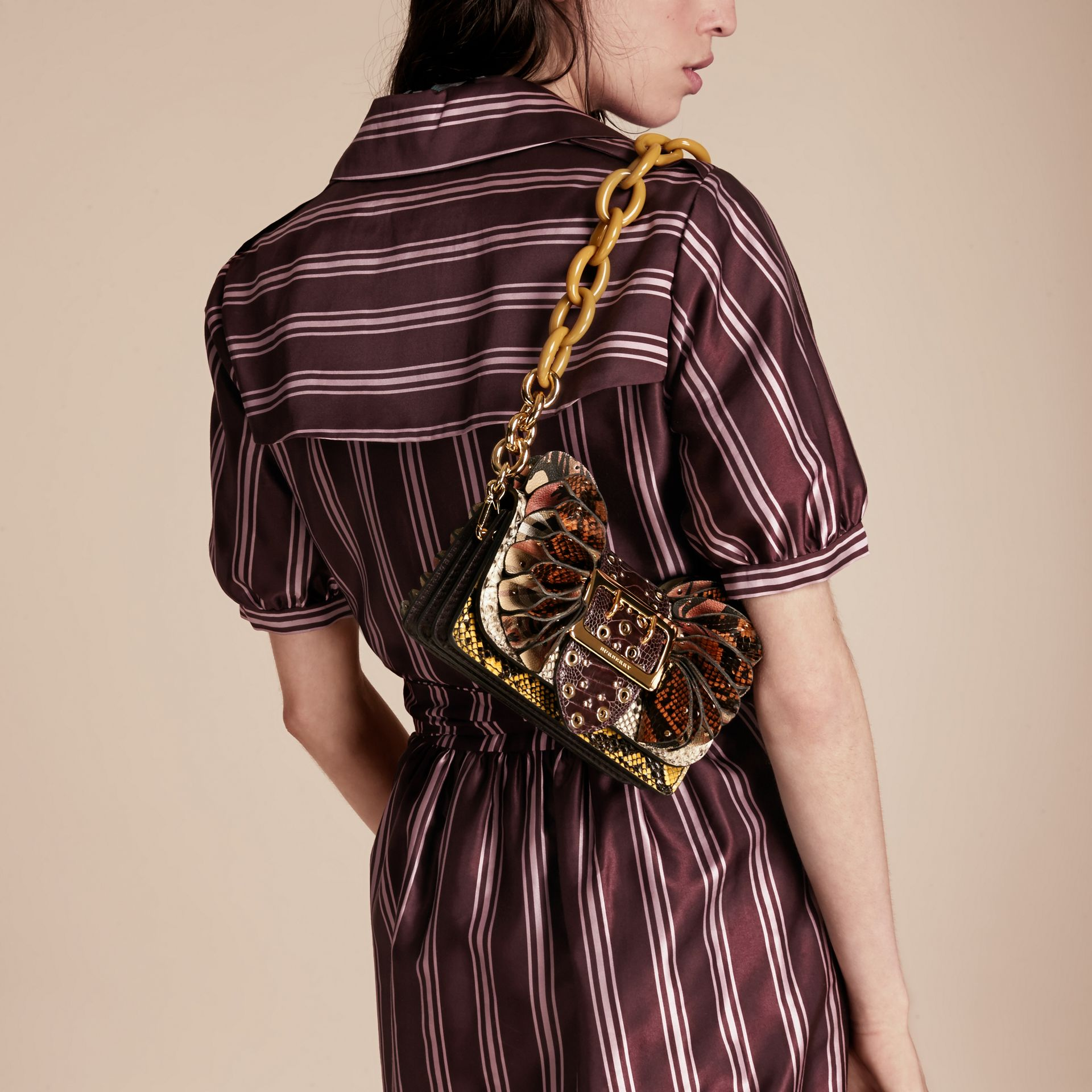 The Ruffle Buckle Bag in Snakeskin, Ostrich and Check Natural - gallery image 3
