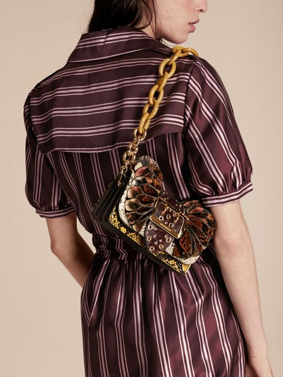 The Ruffle Buckle Bag in Snakeskin, Ostrich and Check Natural - cell image 2