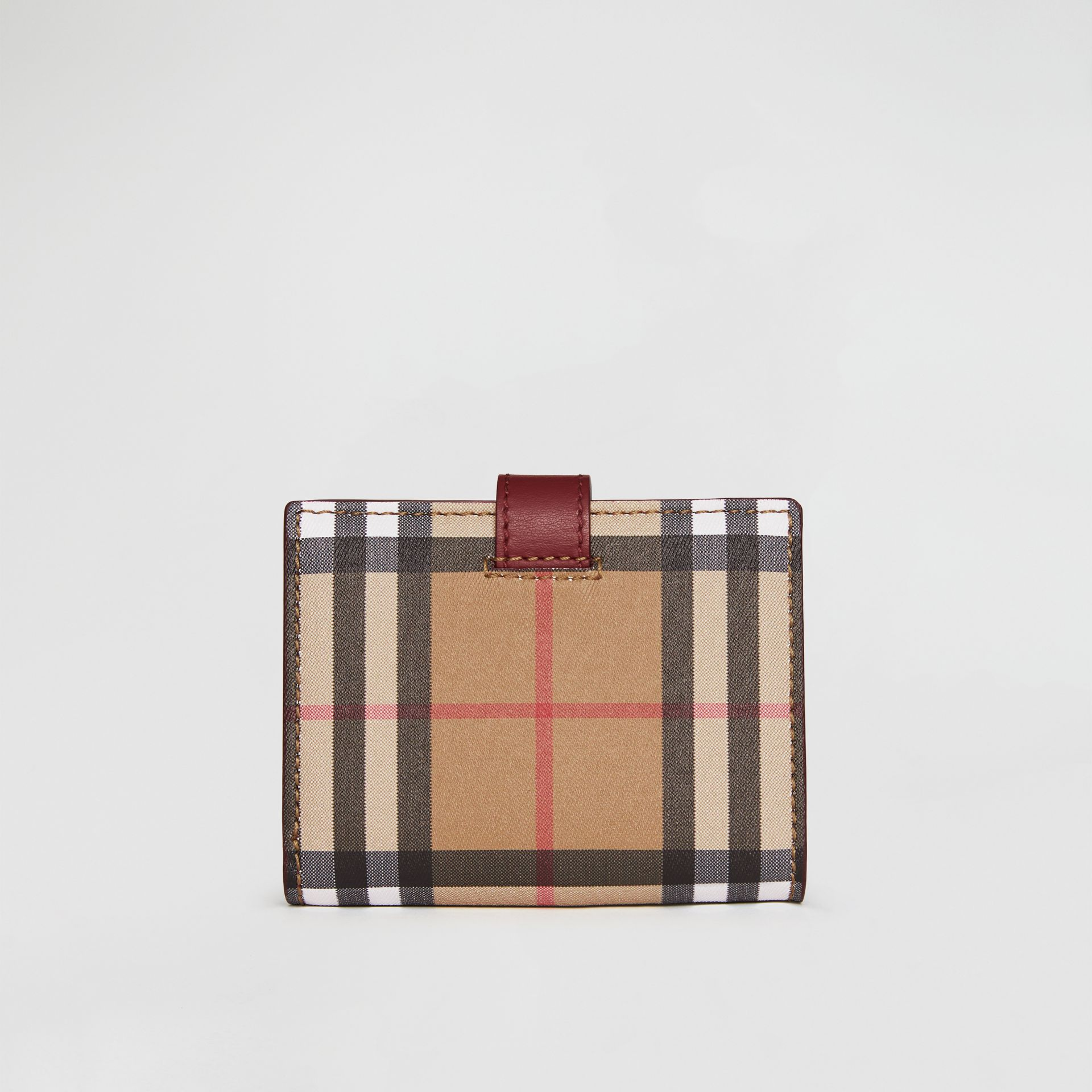 Vintage Check and Leather Folding Wallet in Crimson - Women | Burberry United States - gallery image 2