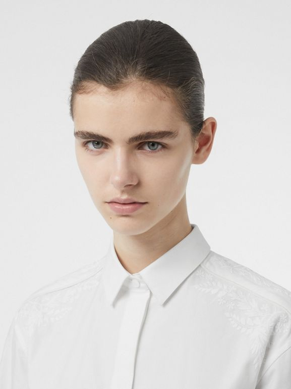 Floral Embroidered Cotton Dress Shirt in White - Women | Burberry - cell image 1