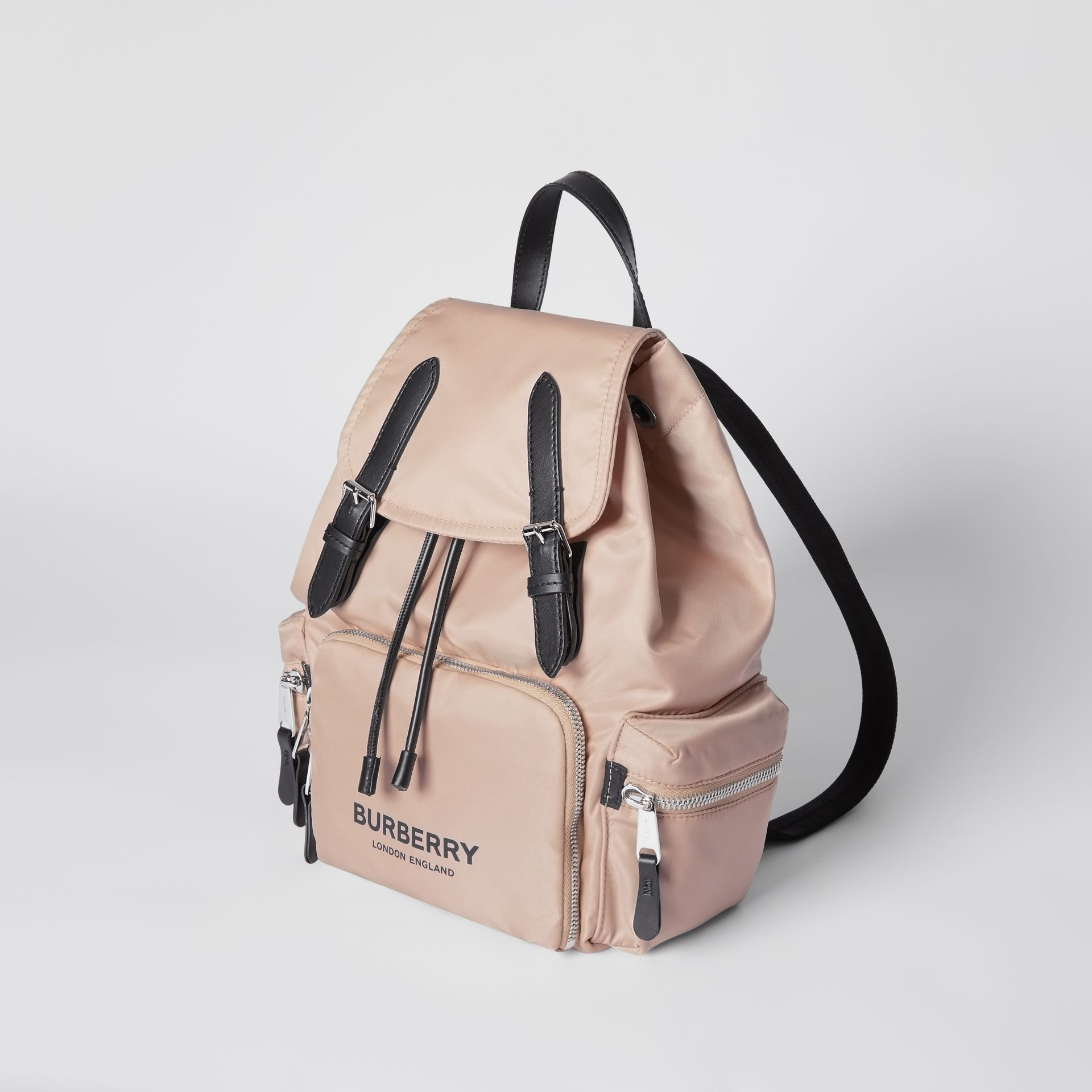 The Medium Rucksack in Logo Print ECONYL® in Rose Beige - Women | Burberry United Kingdom - gallery image 3