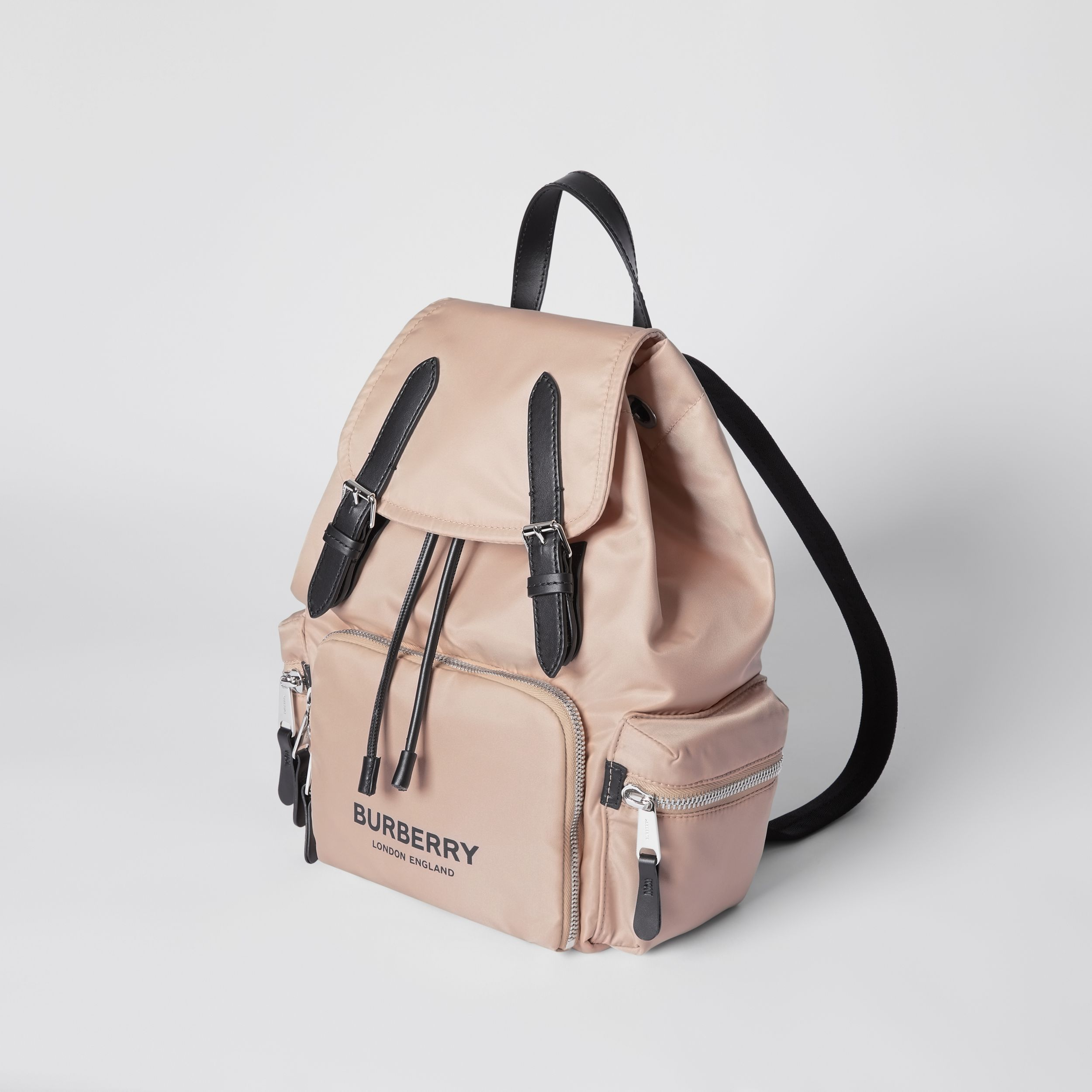 The Medium Rucksack in Logo Print ECONYL® in Rose Beige - Women | Burberry - 4