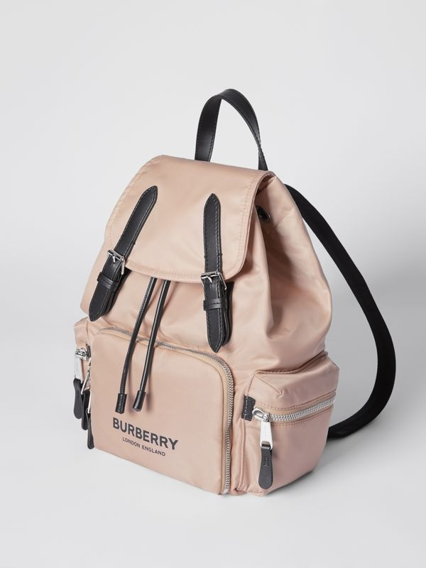 The Medium Rucksack in Logo Print ECONYL® in Rose Beige - Women | Burberry United Kingdom - cell image 3