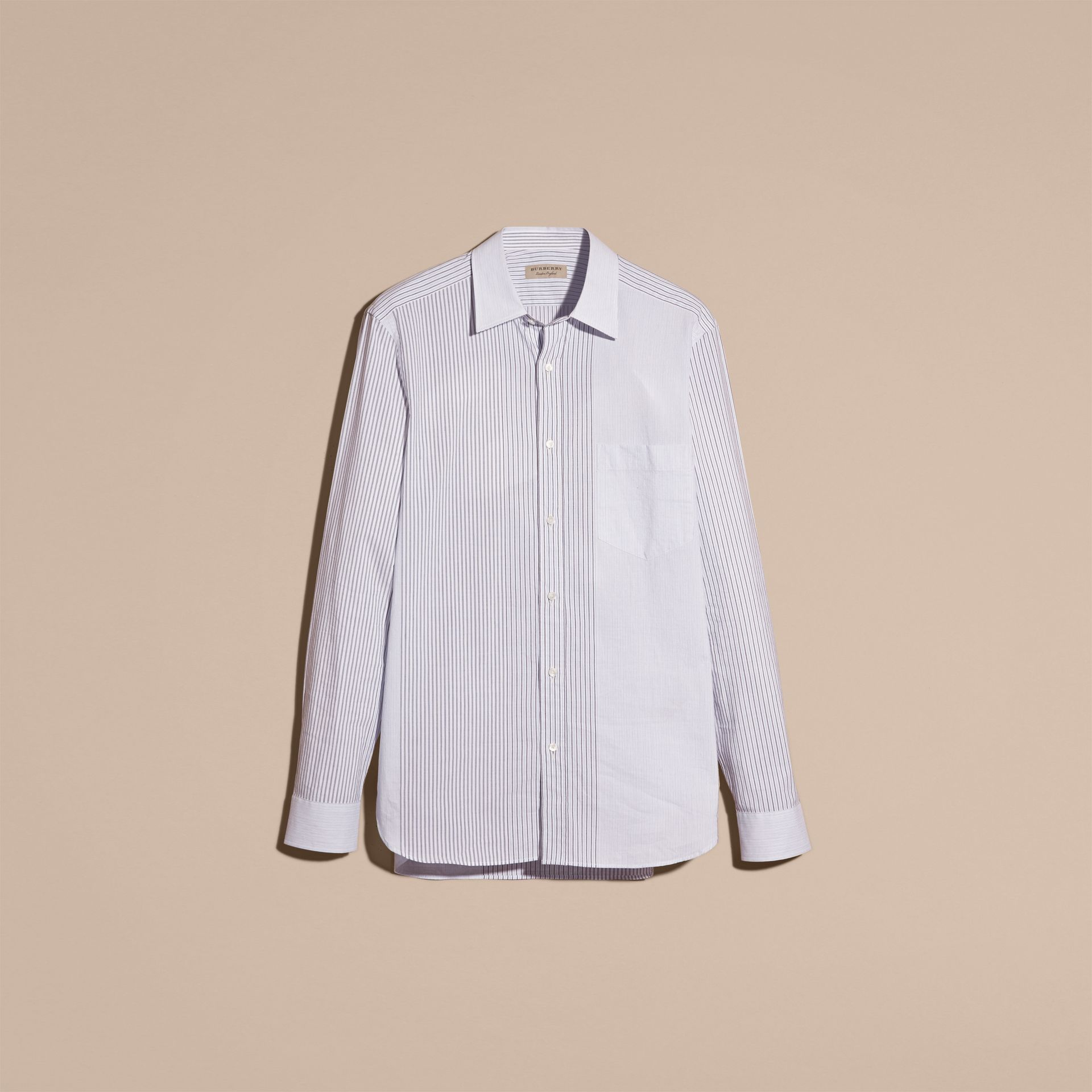 Panelled Stripe Cotton Shirt Light Blue - gallery image 3