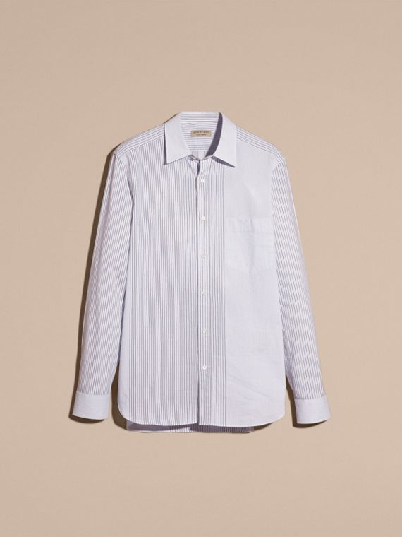 Panelled Stripe Cotton Shirt Light Blue - cell image 2