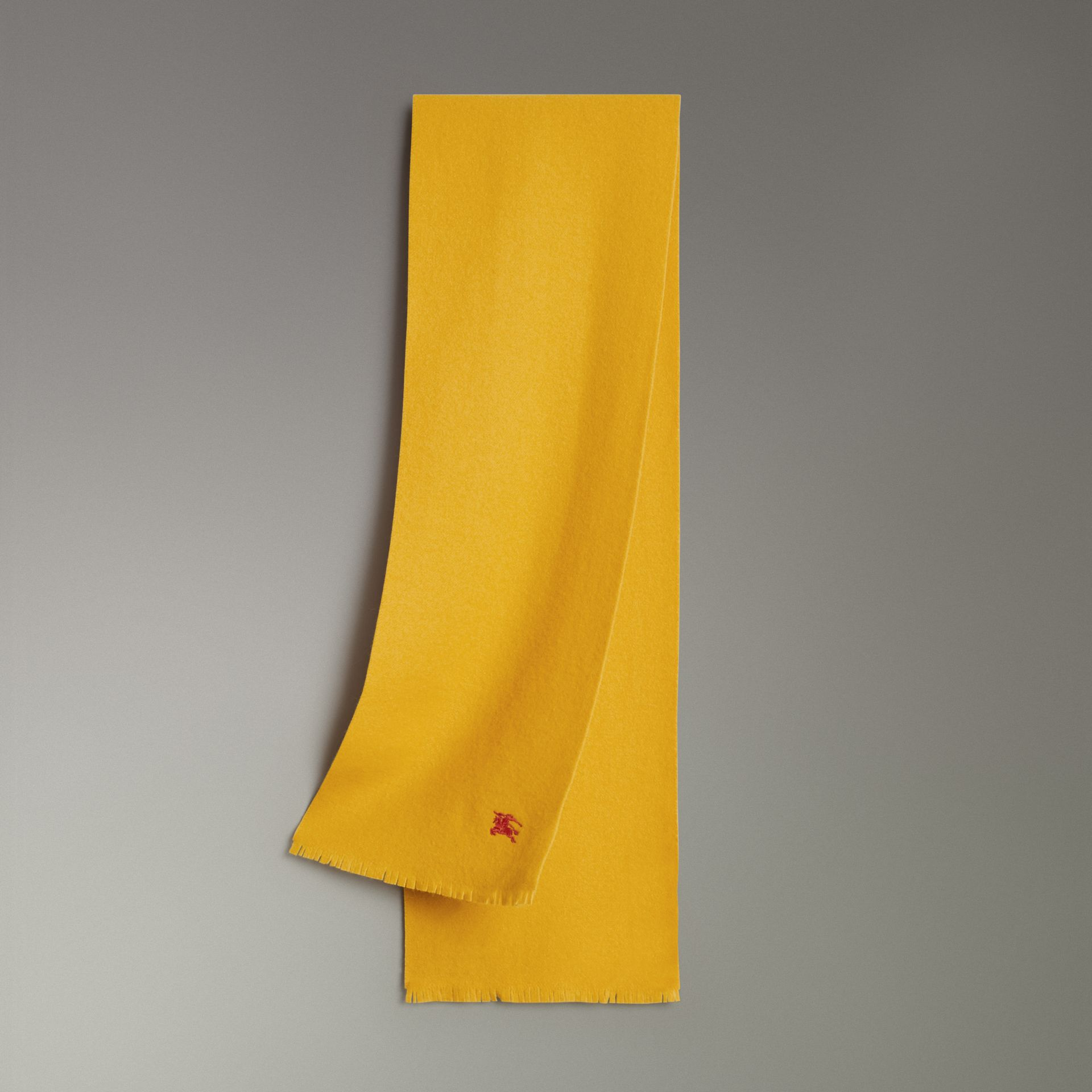 Embroidered Felted Wool Scarf in Saffron | Burberry Singapore - gallery image 0