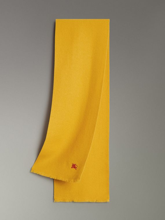 Embroidered Felted Wool Scarf in Saffron