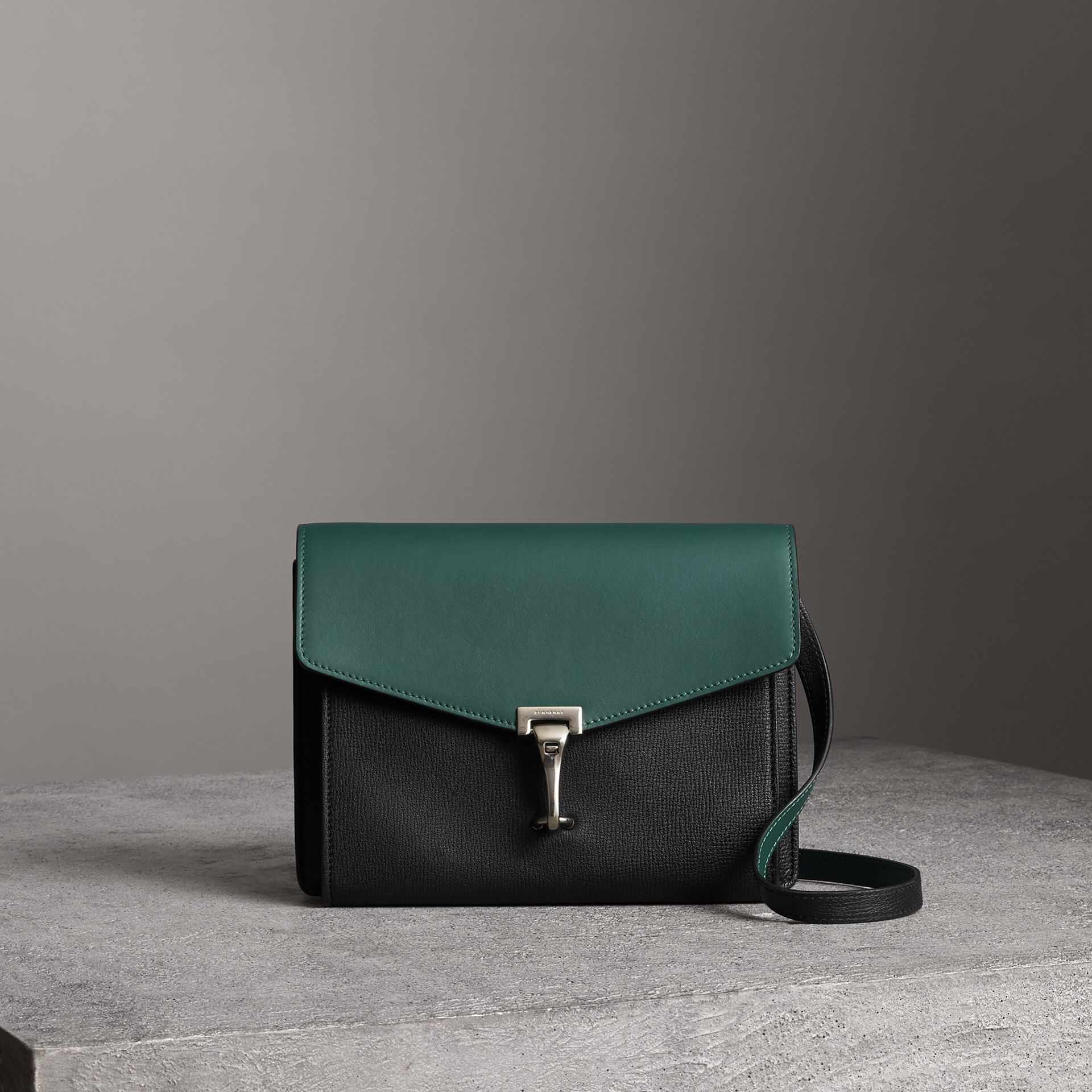 Two-tone Leather Crossbody Bag in Black/sea Green - Women | Burberry United Kingdom - gallery image 0