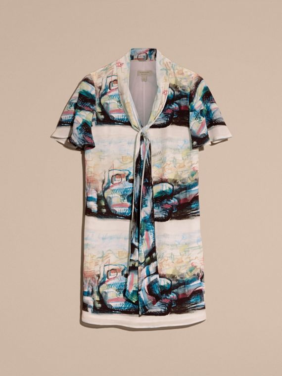 Reclining Figure: Bunched Print Silk Dress with Neck Tie - cell image 3