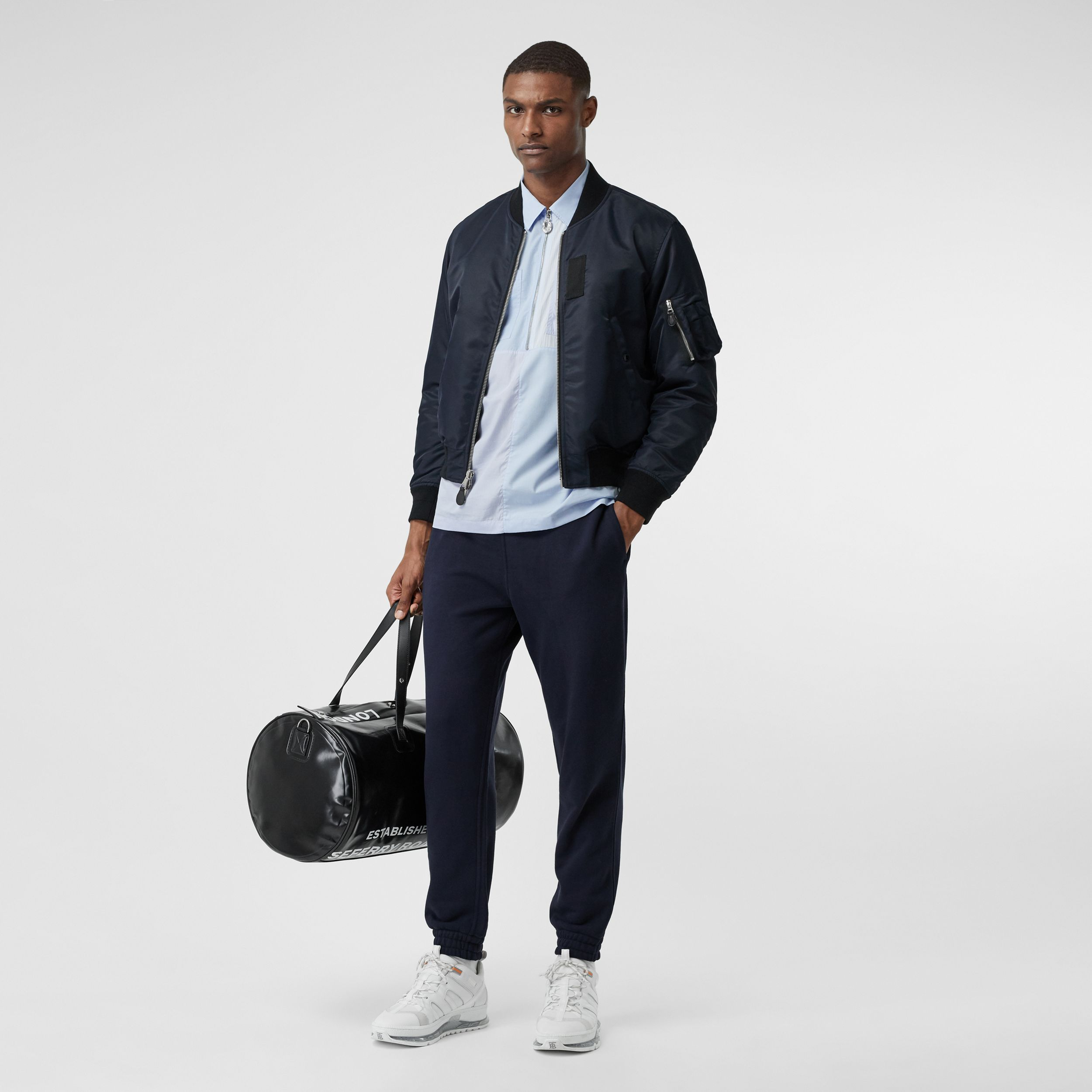 Logo Appliqué Cotton Trackpants in Navy - Men | Burberry - 1