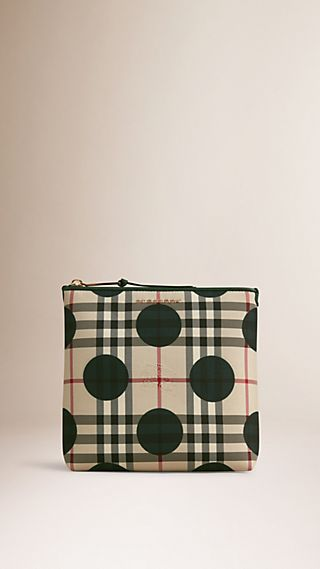 Large Leather Trim Check and Dot Pouch