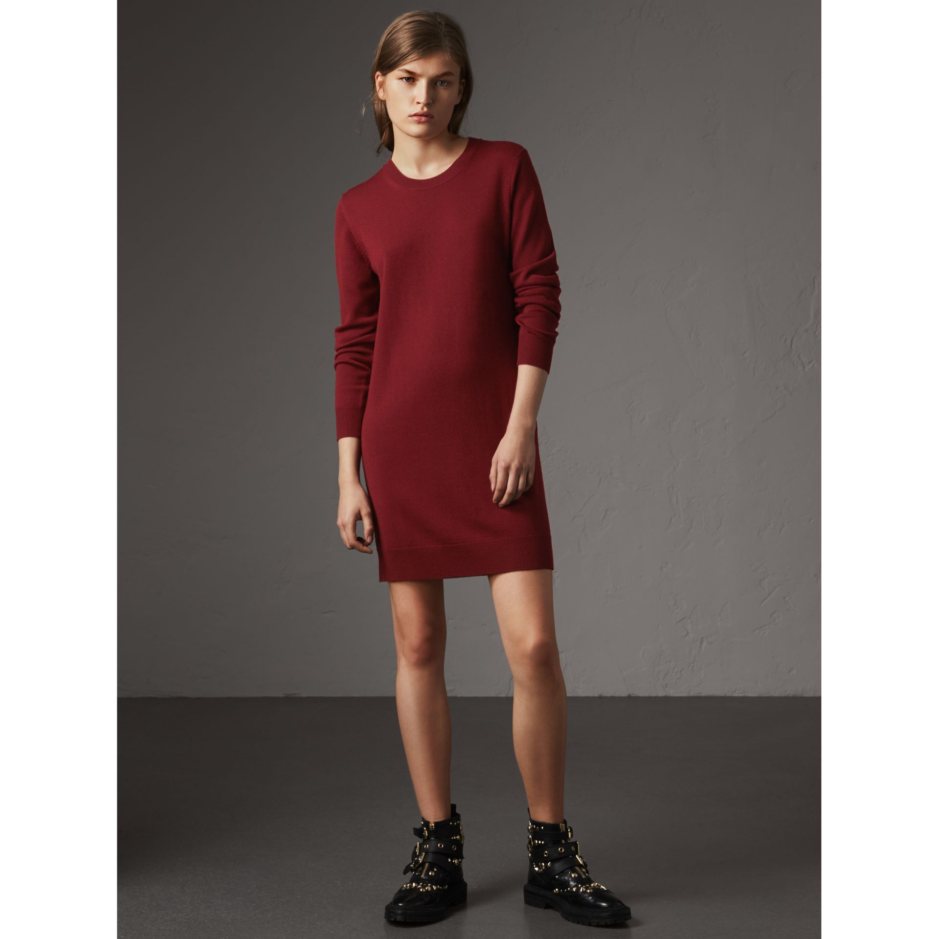 Check Elbow Detail Merino Wool Sweater Dress in Burgundy - Women | Burberry - gallery image 1