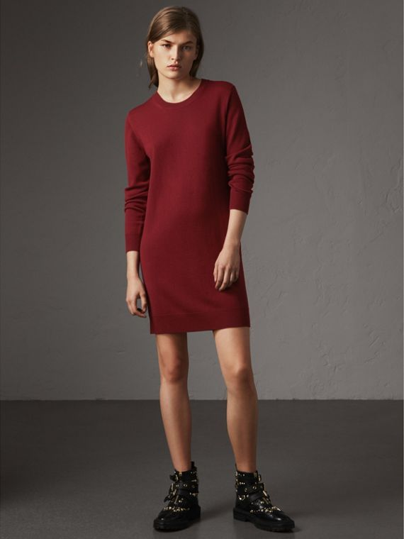 Check Elbow Detail Merino Wool Sweater Dress in Burgundy