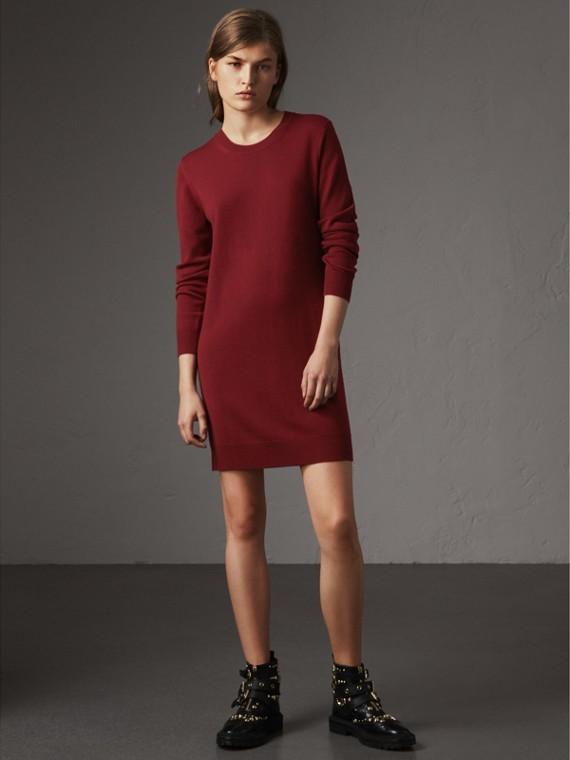 Vestido de punto jersey en lana de merino con coderas a cuadros (Borgoña)