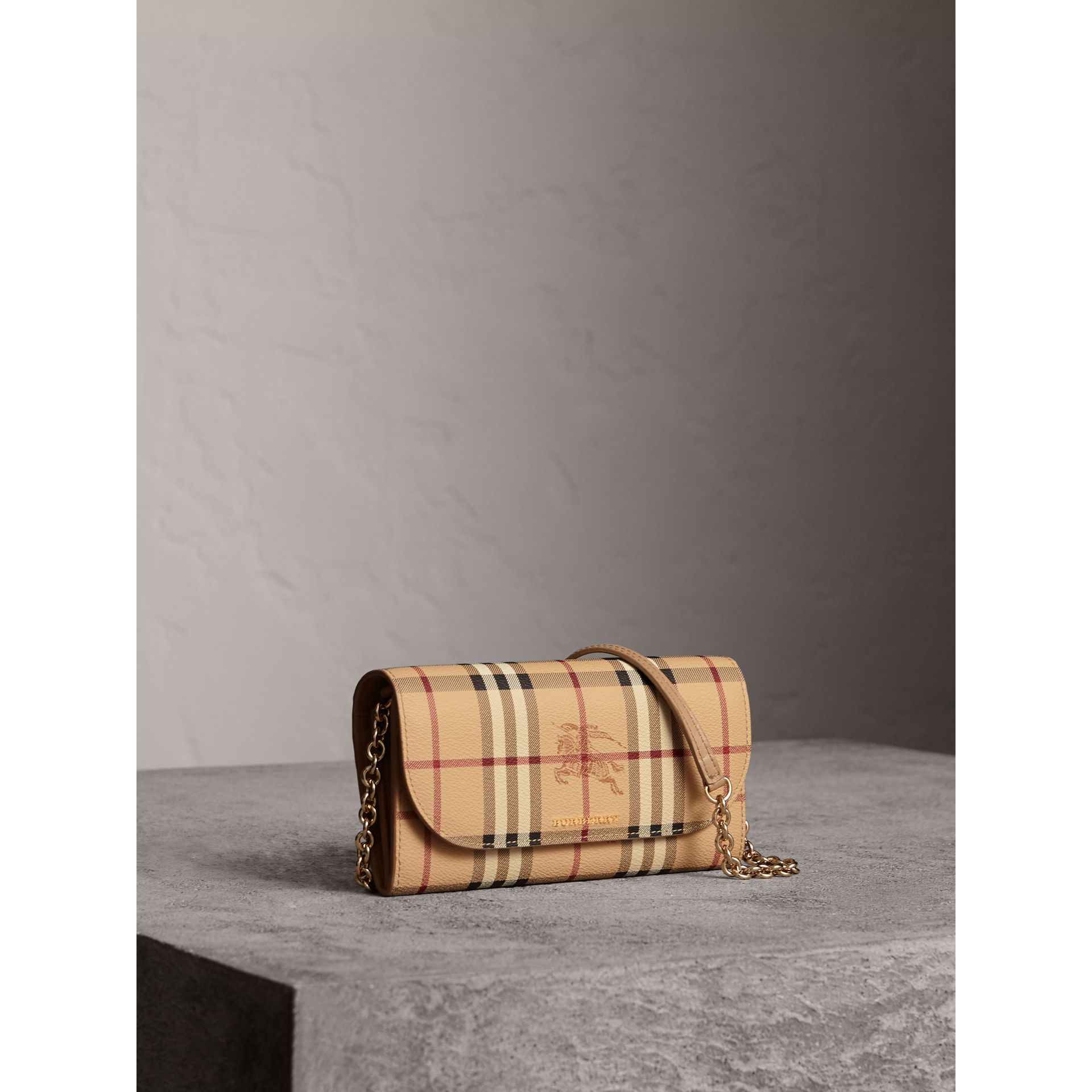 Leather Trim Haymarket Check Wallet with Chain in Mid Camel - Women | Burberry Canada - gallery image 0