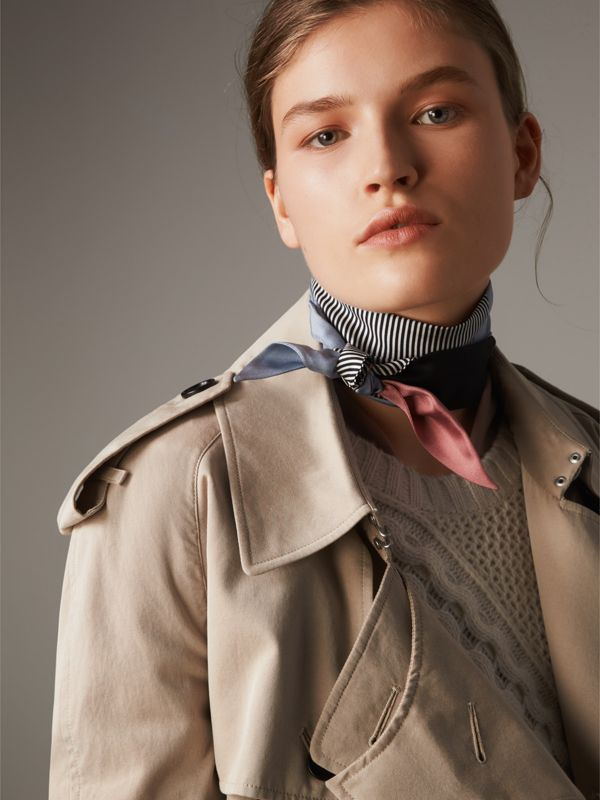 Colour Block and Striped Silk Slim Scarf in Pale Bluebell - Women | Burberry - cell image 2