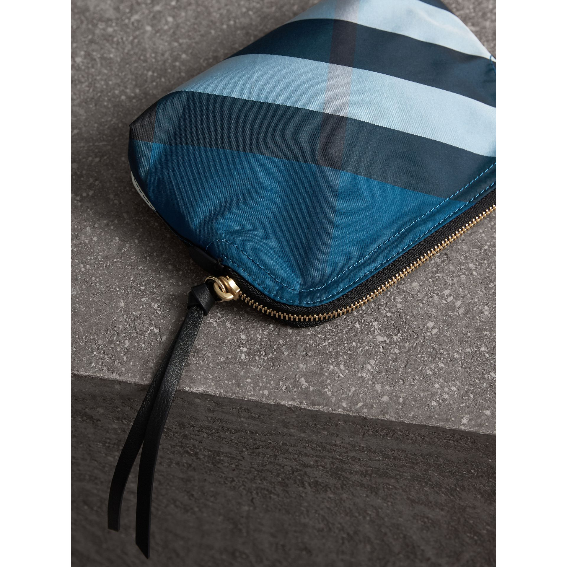 Medium Zip-top Check Technical Pouch in Marine Blue - Women | Burberry - gallery image 3