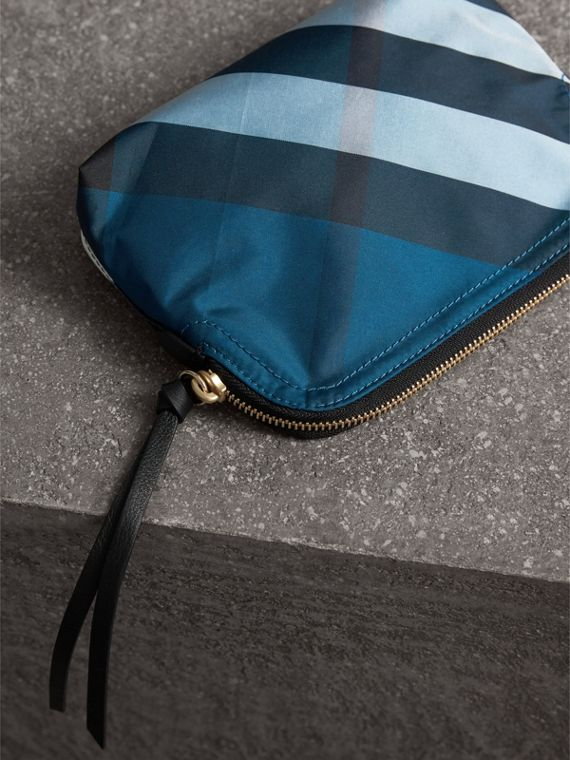 Medium Zip-top Check Technical Pouch in Marine Blue - Women | Burberry United Kingdom - cell image 3