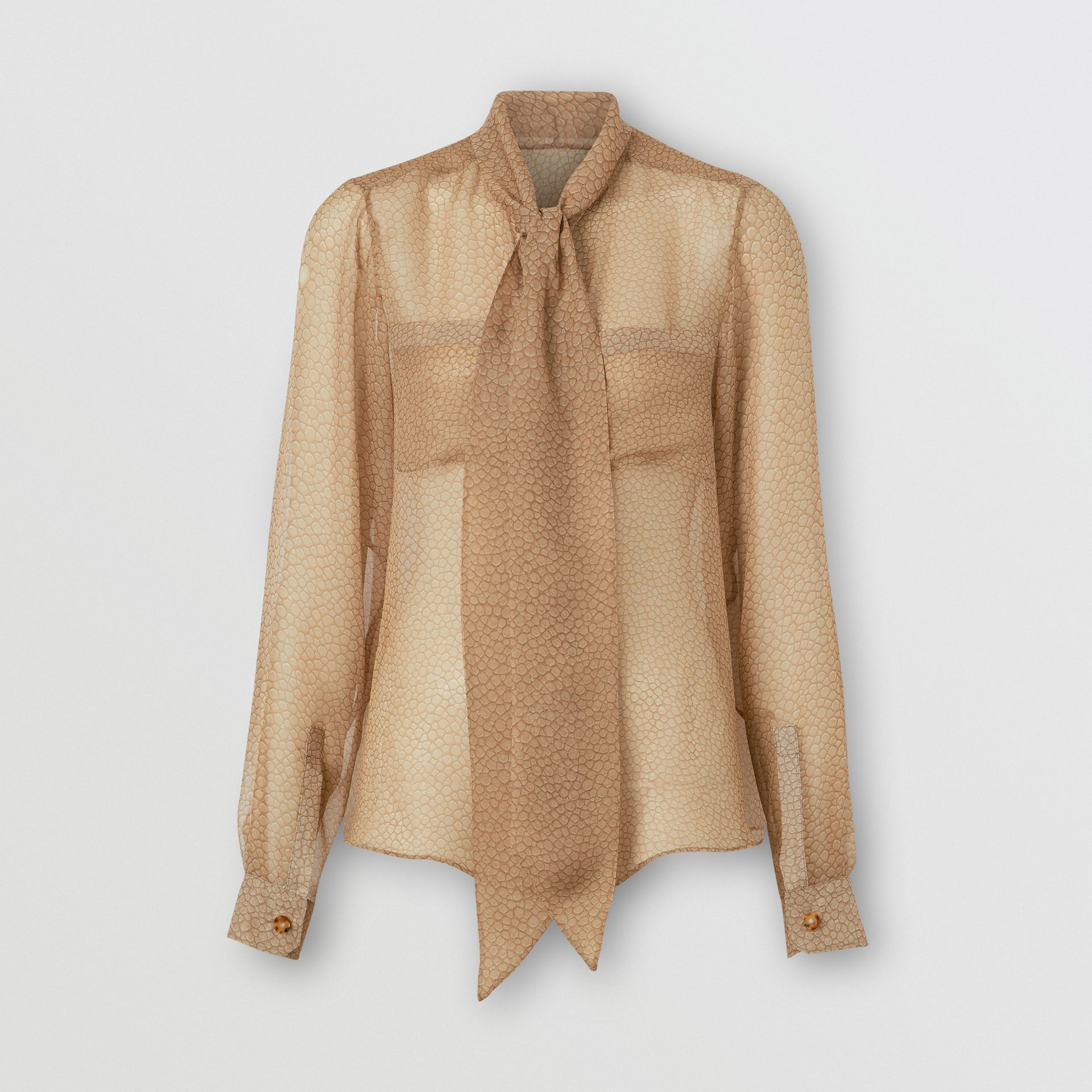 Fish-scale Print Silk Oversized Pussy-bow Blouse in Light Sand - Women | Burberry - gallery image 3
