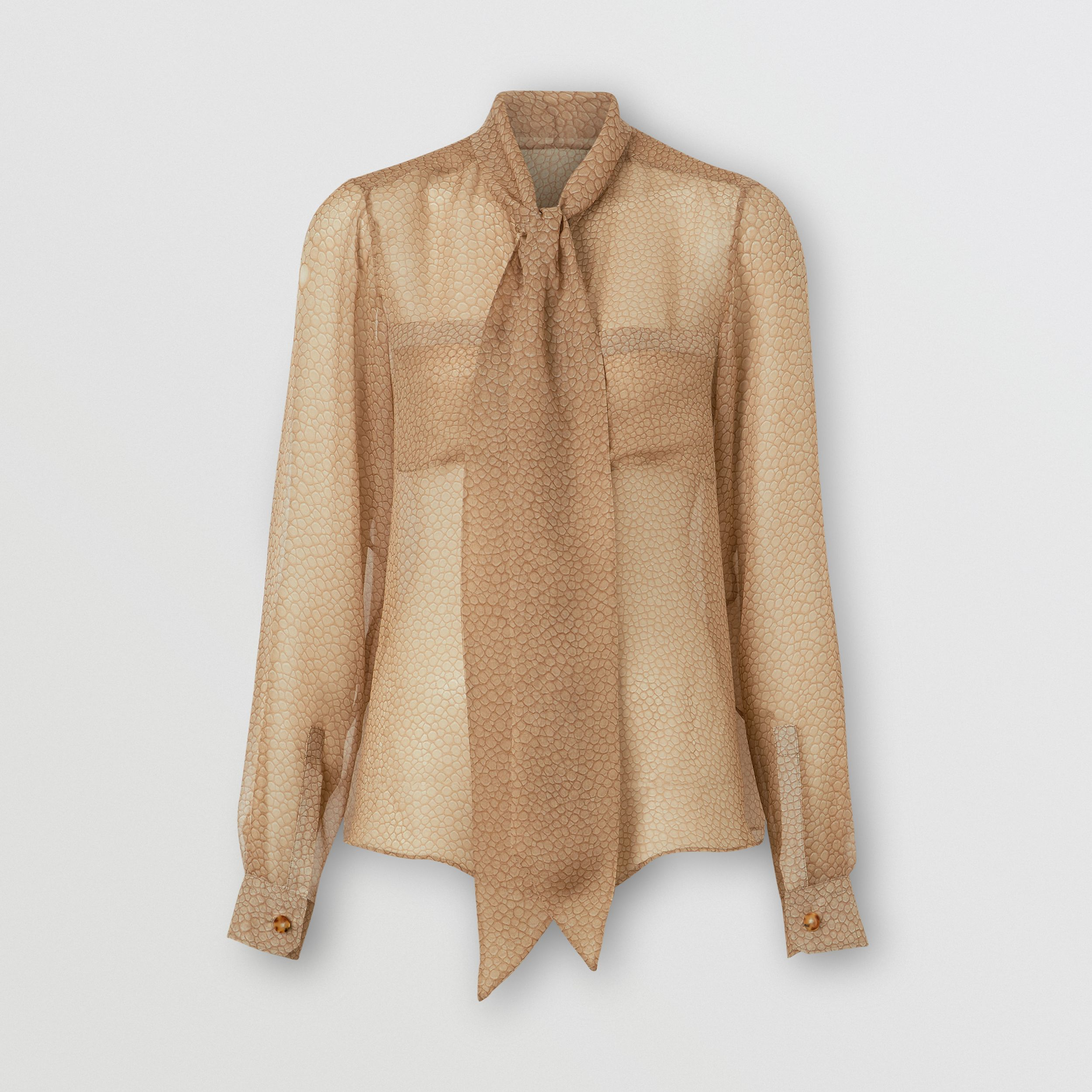 Fish-scale Print Silk Oversized Pussy-bow Blouse in Light Sand - Women | Burberry - 4